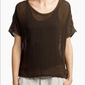 james perse contrast band mesh tee shirt